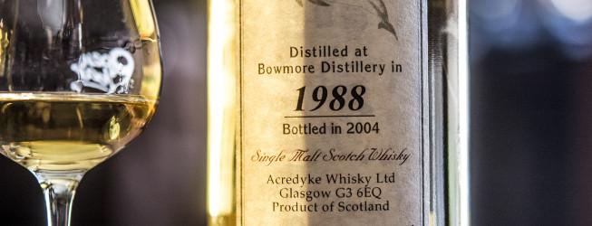 Alkohol wieczoru #311: Bowmore 1988 Acredyke Whisky Lts Glasgow   53,8%