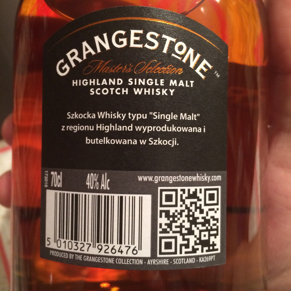 GrangestoneSingleMaltScotchWhisky z Biedronki_tył butelki
