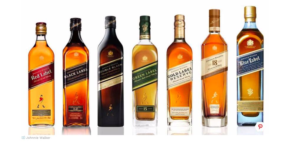 Johnnie Walker różne kolory etykiet